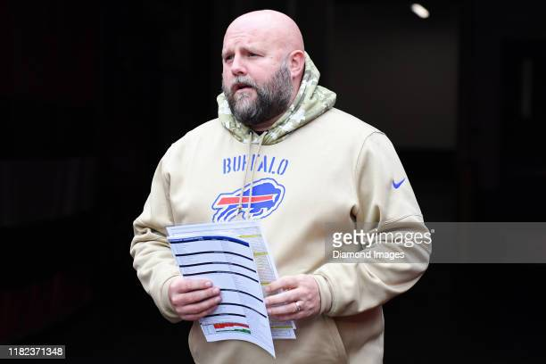Offensive coordinator Brian Daboll of the Buffalo Bills walks out of the tunnel prior to a game against the Cleveland Browns on November 10, 2019 at...
