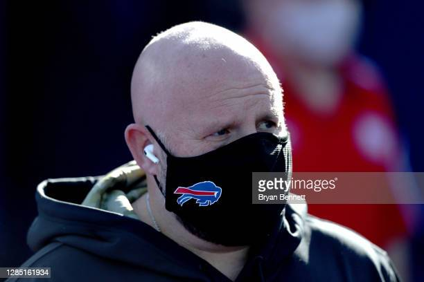 Offensive coordinator Brian Daboll of the Buffalo Bills walks to the field prior to a game against the Seattle Seahawks at Bills Stadium on November...