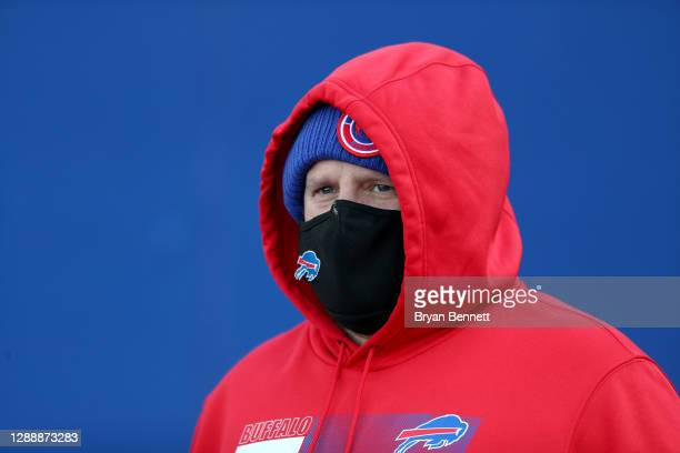 Offensive coordinator Brian Daboll of the Buffalo Bills walks to the field prior to a game against the Los Angeles Chargers at Bills Stadium on...