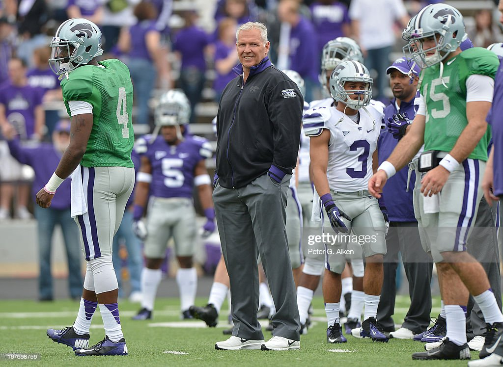 Offensive coordinator Dana Dimel of the Kansas State Wildcats before the Purple and White Spring Game on April 27, 2013 at Bill Snyder Family Stadium in Manhattan, Kansas.