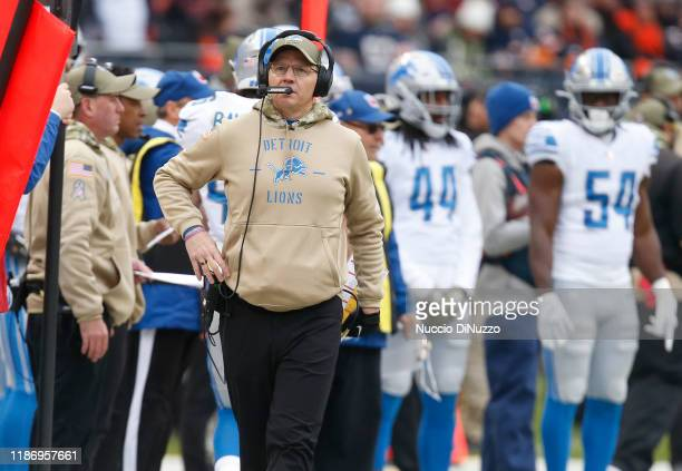 Offensive coordinator Darrell Bevell of the Detroit Lions stands on the sidelines during the game against the Chicago Bears at Soldier Field on...