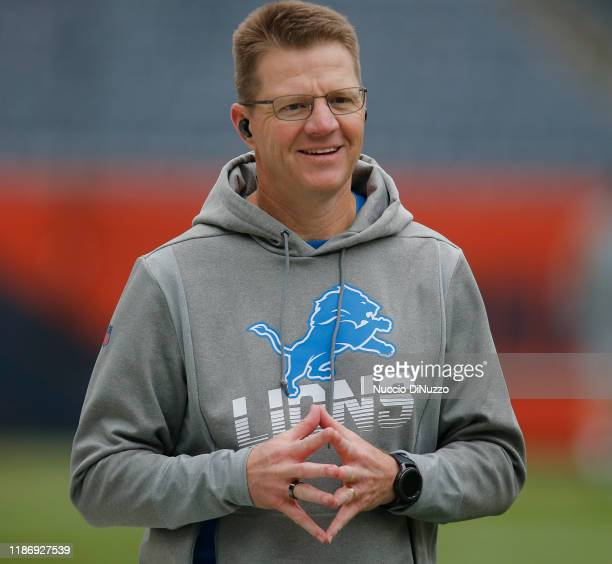 Offensive coordinator Darrell Bevell of the Detroit Lions walks on the field prior to a game against the Chicago Bears at Soldier Field on November...