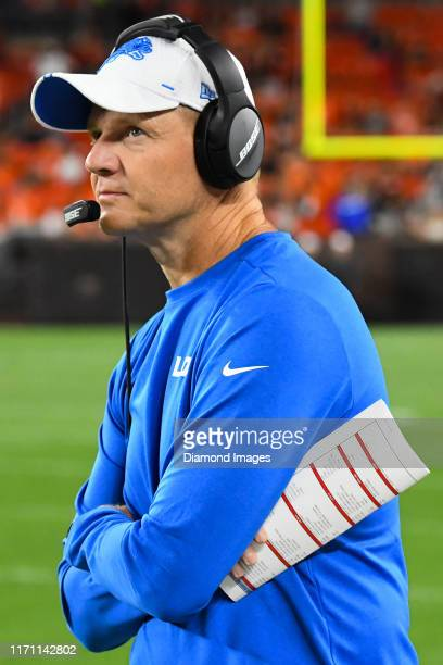 Offensive coordinator Darrell Bevell of the Detroit Lions watches the action from the sideline in the fourth quarter of a preseason game against the...