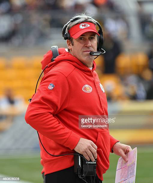 Offensive coordinator Doug Pederson of the Kansas City Chiefs looks on from the sideline during a game against the Pittsburgh Steelers at Heinz Field...