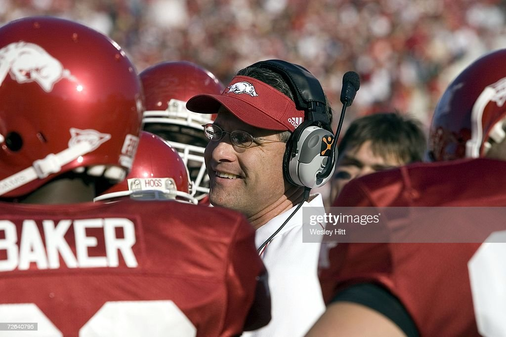 Offensive Coordinator Gus Malzahn of the Arkansas Razorback talks with his offense in a game against the LSU Tigers at War Memorial Stadium on November 24, 2006 in Little Rock, Arkansas. The Tigers defeated the Razorbacks 31 - 26.