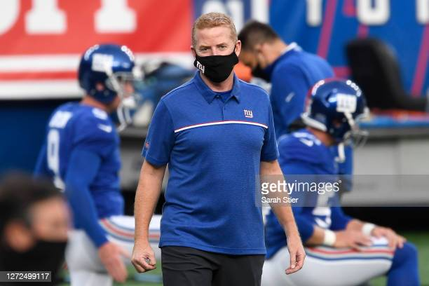 Offensive coordinator Jason Garrett of the New York Giants looks on during warmups before the game against the Pittsburgh Steelers at MetLife Stadium...