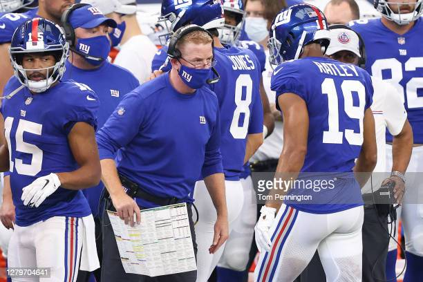 Offensive coordinator Jason Garrett of the New York Giants looks on looks on against the Dallas Cowboys during the second quarter at AT&T Stadium on...