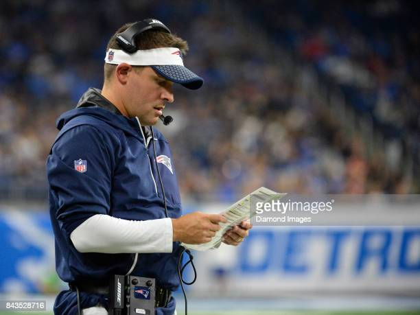 Offensive coordinator Josh McDaniels of the New England Patriots makes a play call from the sideline in the first quarter of a preseason game on...