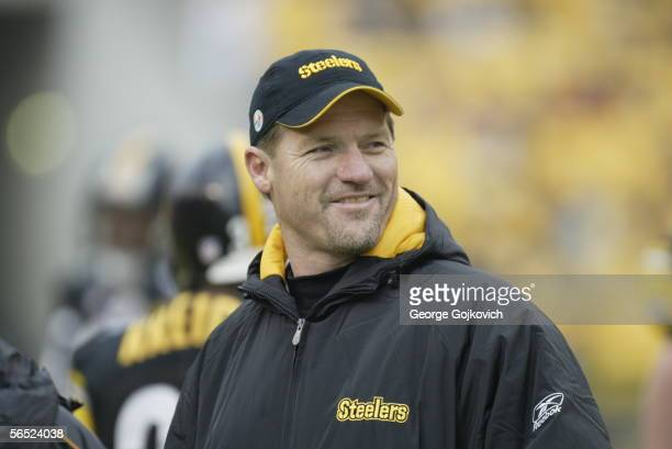 Offensive coordinator Ken Whisenhunt of the Pittsburgh Steelers on the field prior to the start of a game against the Detroit Lions at Heinz Field on...
