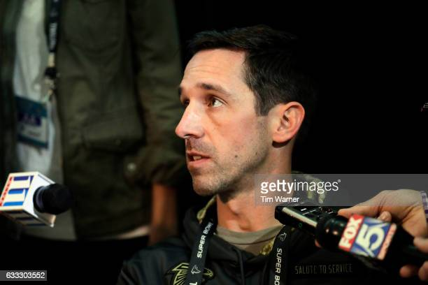 Offensive Coordinator Kyle Shanahan of the Atlanta Falcons speaks with the media during a Super Bowl LI press conference on February 1 2017 in...