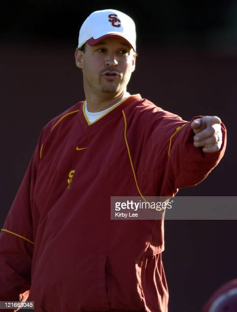 USC offensive coordinator Lane Kiffin during spring football practice at Howard Jones Field on the campus of the University of Southern California in...