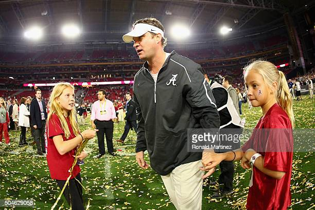 Offensive coordinator Lane Kiffin of the Alabama Crimson Tide celebrates after defeating the Clemson Tigers in the 2016 College Football Playoff...