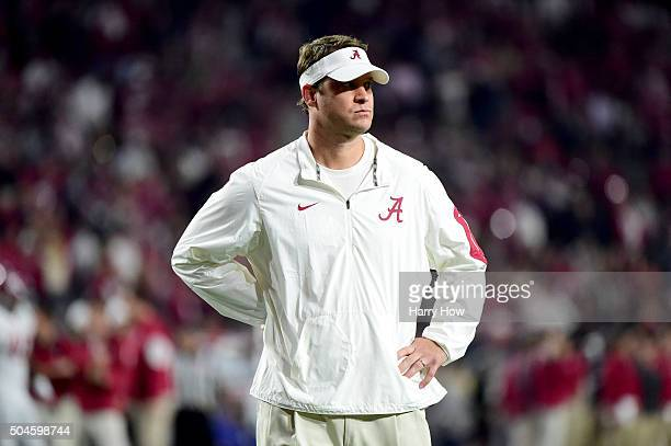 Offensive coordinator Lane Kiffin of the Alabama Crimson Tide looks on prior to the 2016 College Football Playoff National Championship Game against...
