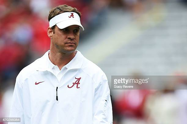 Offensive coordinator Lane Kiffin of the Alabama Crimson Tide watches action prior to the University of Alabama A Day spring game at BryantDenny...