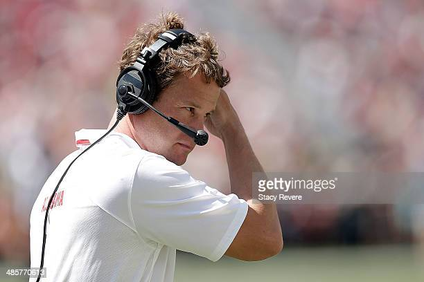 Offensive coordinator Lane Kiffin of the Alabama Crimson Tide watches action during the University of Alabama ADay spring game at BryantDenny Stadium...