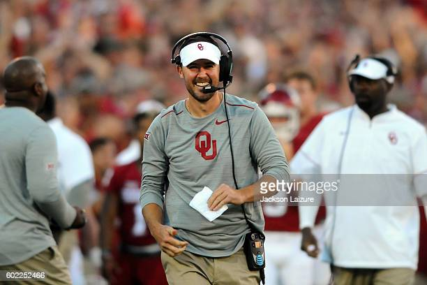 Offensive Coordinator Lincoln Riley of the Oklahoma Sooners laughs after a touchdown against the Louisiana Monroe Warhawks on Saturday September 10...