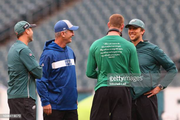 Offensive Coordinator Mike Groh of the Philadelphia Eagles head coach Frank Reich of the Indianapolis Colts quarterback Carson Wentz and quarterback...