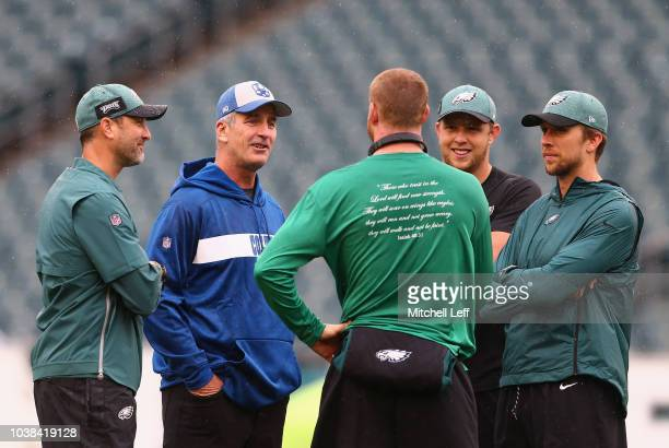 Offensive Coordinator Mike Groh of the Philadelphia Eagles head coach Frank Reich of the Indianapolis Colts quarterback Carson Wentz quarterback Nate...