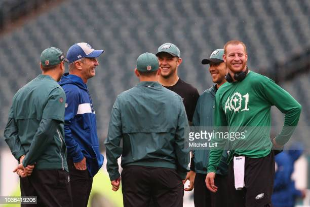 Offensive Coordinator Mike Groh of the Philadelphia Eagles head coach Frank Reich of the Indianapolis Colts quarterback Nate Sudfeld quarterback Nick...