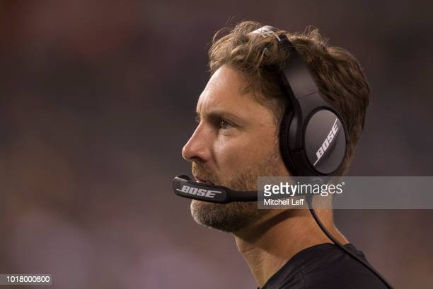 Offensive coordinator Mike Groh of the Philadelphia Eagles looks on during the preseason game against the Pittsburgh Steelers at Lincoln Financial...