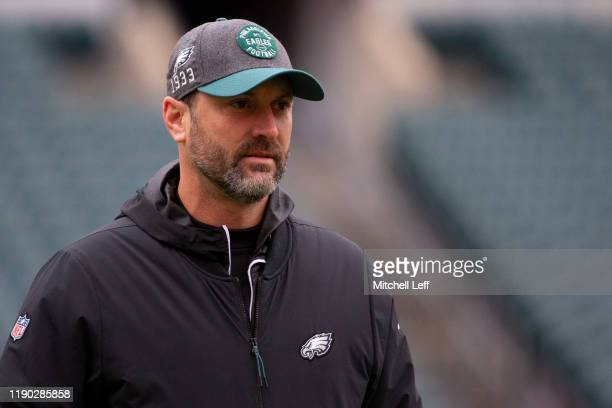 Offensive coordinator Mike Groh of the Philadelphia Eagles looks on prior to the game against the Seattle Seahawks at Lincoln Financial Field on...