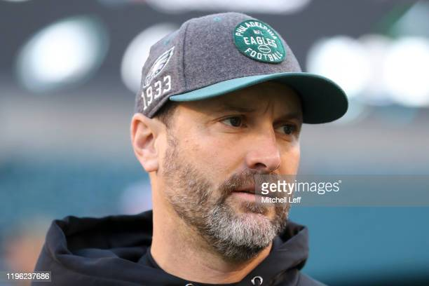 Offensive coordinator Mike Groh of the Philadelphia Eagles looks on prior to the game against the Dallas Cowboys at Lincoln Financial Field on...