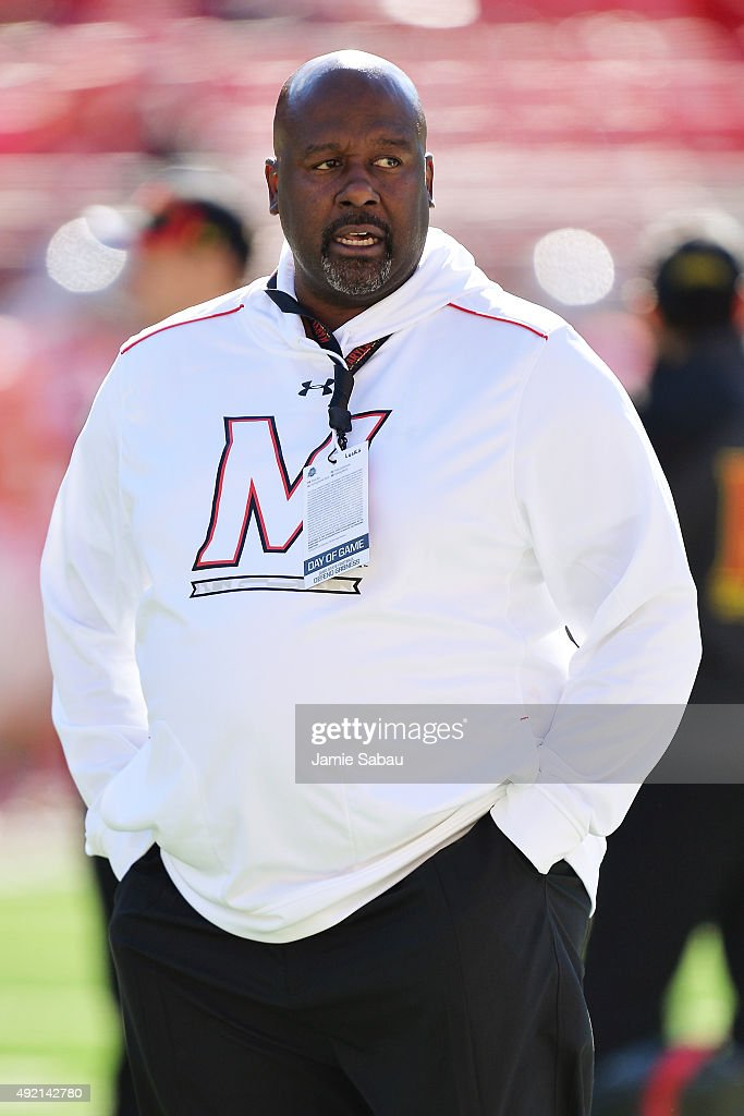 Offensive Coordinator Mike Lockley of the Maryland Terrapins watches the team warm up before their game against the Ohio State Buckeyes at Ohio Stadium on October 10, 2015 in Columbus, Ohio.