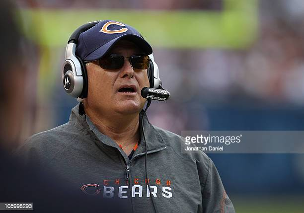 Offensive coordinator Mike Martz of the Chicago Bears watches a play against the Washington Redskins at Soldier Field on October 24 2010 in Chicago...