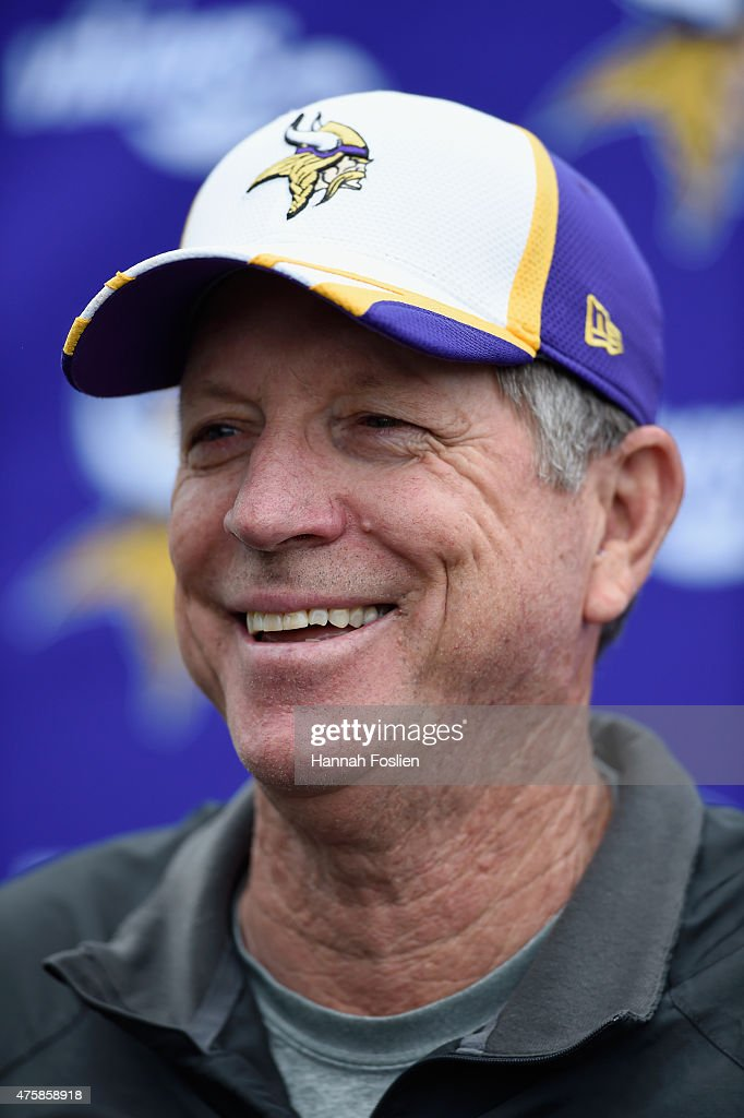 Offensive coordinator Norv Turner of the Minnesota Vikings speaks to the media after practice on June 4, 2015 at Winter Park in Eden Prairie, Minnesota.