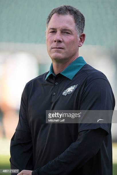 Offensive coordinator Pat Shurmur looks on prior to the game against the Baltimore Ravens on August 22 2015 at Lincoln Financial Field in...
