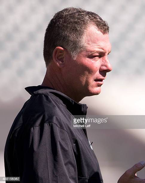 Offensive coordinator Pat Shurmur of the Philadelphia Eagles watches his team warm up prior to the game against the Jacksonville Jaguars on September...