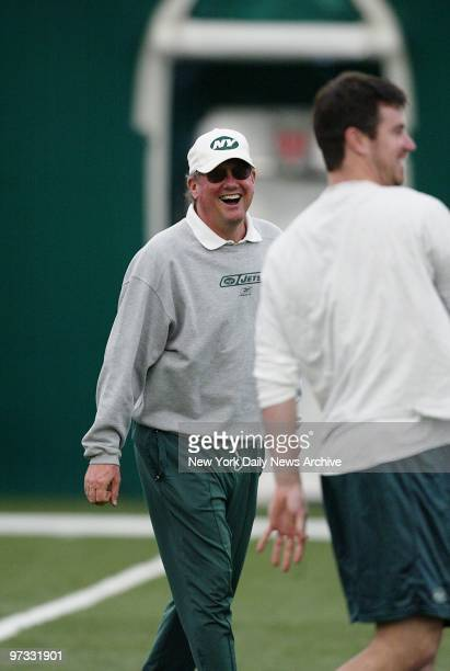 Offensive coordinator Paul Hackett is looking optimistic at the New York Jets training camp at Hofstra UniversityThe Jets will open the AFC playoffs...