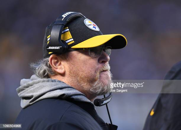 Offensive Coordinator Randy Fichtner of the Pittsburgh Steelers looks on during the game against the Cincinnati Bengals at Heinz Field on December 30...