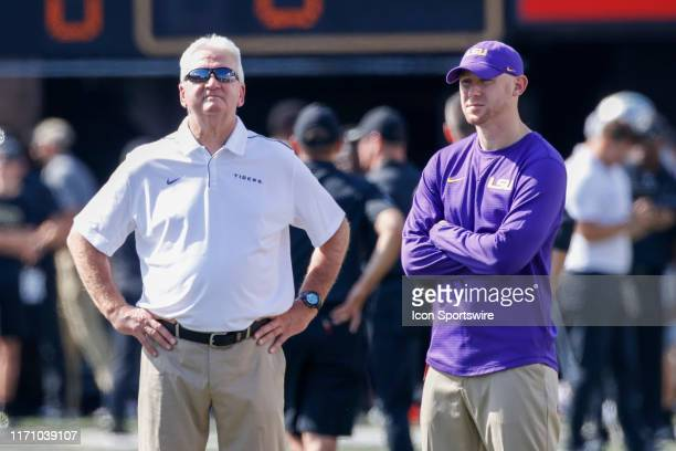 LSU offensive coordinator Steve Ensminger with passing game coordinator Joe Brady before the game between the LSU Tigers and Vanderbilt Commodores at...