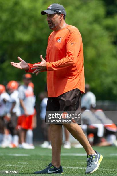 Offensive coordinator Todd Haley of the Cleveland Browns directs a drill during a mandatory mini camp on June 13 2018 at the Cleveland Browns...