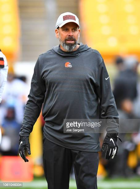 Offensive coordinator Todd Haley of the Cleveland Browns looks on during warmups prior to the game against the Pittsburgh Steelers at Heinz Field on...