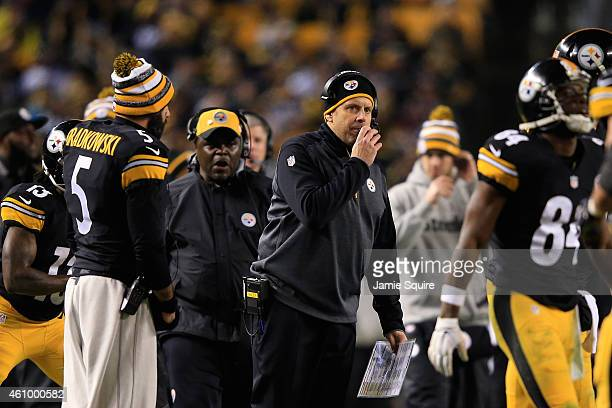 Offensive coordinator Todd Haley of the Pittsburgh Steelers calls a play against the Baltimore Ravens during their AFC Wild Card game at Heinz Field...
