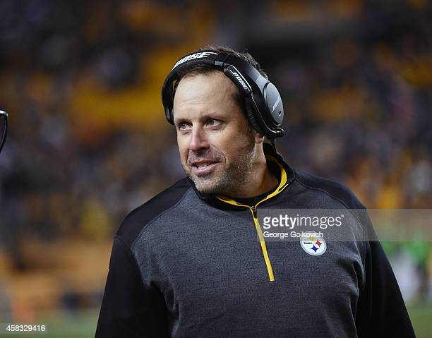 Offensive coordinator Todd Haley of the Pittsburgh Steelers looks on from the sideline during a game against the Baltimore Ravens at Heinz Field on...