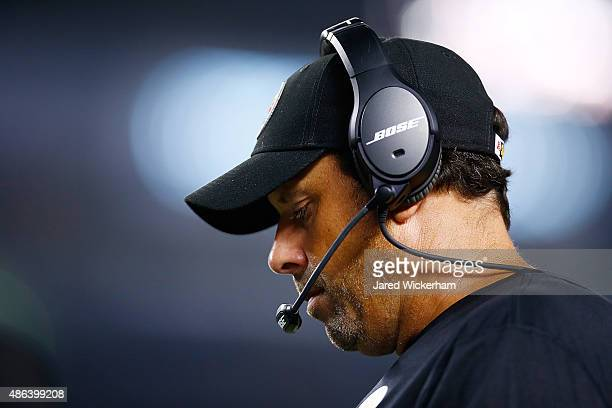 Offensive coordinator Todd Haley of the Pittsburgh Steelers looks on in the first half against the Carolina Panthers during the game at Heinz Field...