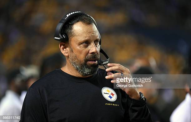 Offensive coordinator Todd Haley of the Pittsburgh Steelers looks on from the sideline during a National Football League preseason game against the...