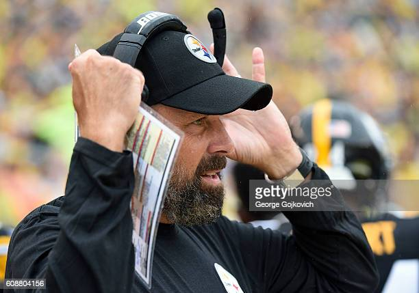 Offensive coordinator Todd Haley of the Pittsburgh Steelers looks on from the sideline during a game against the Cincinnati Bengals at Heinz Field on...