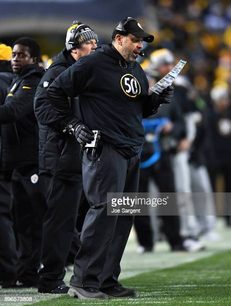 Offensive coordinator Todd Haley of the Pittsburgh Steelers looks on against the Baltimore Ravens at Heinz Field on December 10 2017 in Pittsburgh...
