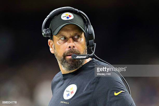 Offensive Coordinator Todd Haley of the Pittsburgh Steelers on the sidelines during a preseason game against the New Orleans Saints at MercedesBenz...