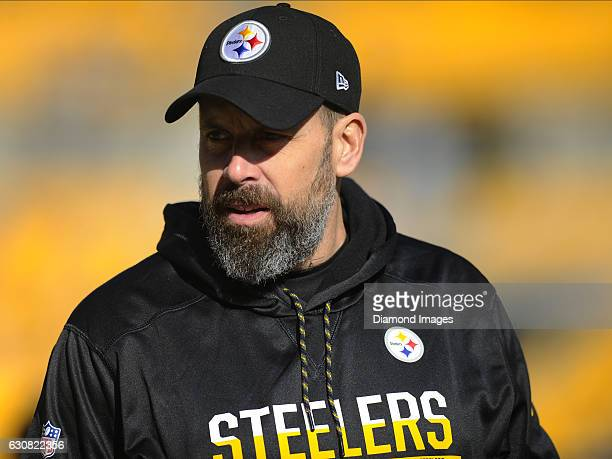 Offensive coordinator Todd Haley of the Pittsburgh Steelers stands on the field prior to a game against the Cleveland Browns on January 1 2017 at...