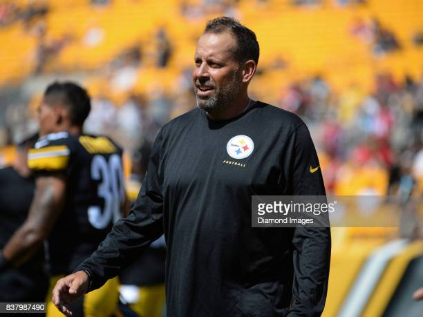 Offensive coordinator Todd Haley of the Pittsburgh Steelers stands on the field prior to a preseason game on August 20 2017 against the Atlanta...