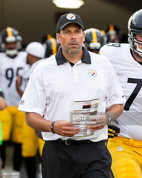 Offensive Coordinator Todd Haley of the Pittsburgh Steelers takes the field before a preseason game against the Jacksonville Jaguars at EverBank...
