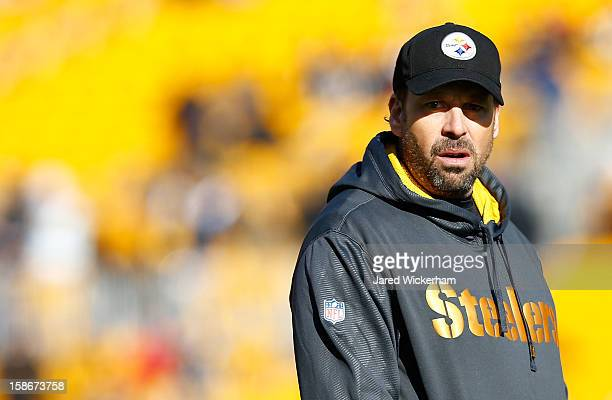 Offensive Coordinator Todd Haley of the Pittsburgh Steelers watches his team warm up prior to the game against the Cincinnati Bengals during the game...