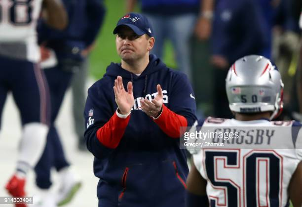 Offensive coordinatorJosh McDaniels of the New England Patriots looks on prior to Super Bowl LII against the Philadelphia Eagles at US Bank Stadium...