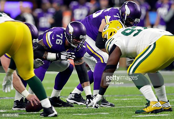 Offensive guard Alex Boone of the Minnesota Vikings in action during the 1st half of the game against the Green Bay Packers on September 18 2016 in...