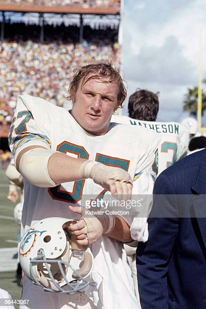 Offensive guard Bob Kuechenberg, of the Miami Dolphins, on the sidelines during a game against the New England Patriots on November 12, 1972 at the...